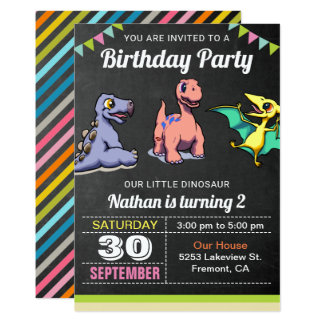 Cute Little Dinosaurs Birthday Party Invitation