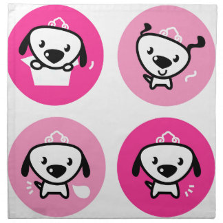 Cute little Dog and Dog princess Collection PINK Napkin