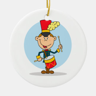 cute little drummer boy ceramic ornament