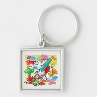 cute little elephant painting Silver-Colored square key ring