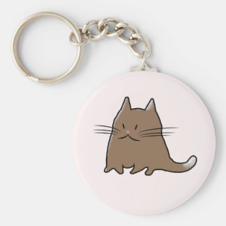 Cute Little Fat Cat Basic Round Button Key Ring