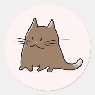 Cute Little Fat Kitty Cat Round Sticker