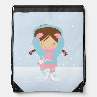 Cute Little Figure Skater Drawstring Bag