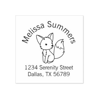 Cute Little Fox Address Rubber Stamp