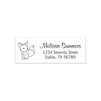 Cute Little Fox Address Self-inking Stamp