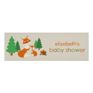 Cute Little Fox and Mom Baby Shower Banner Poster