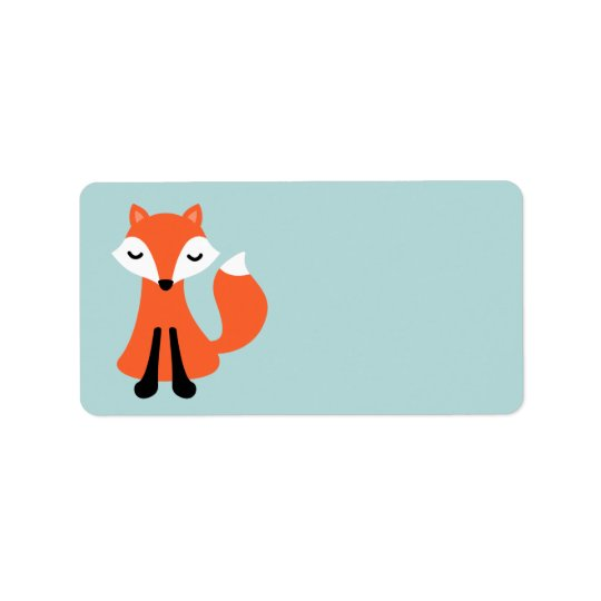 Cute little fox blank address label