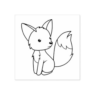 Cute Little Fox Color Me Rubber Stamp