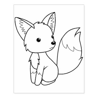 Cute Little Fox Coloring Page Rubber Stamp