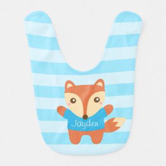 Cute little fox in blue, for baby boy bibs