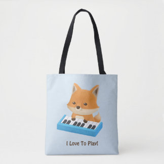 Cute Little Fox Loves to Play Piano Kids Tote Bag