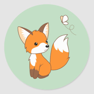 Cute Little Fox Watching Butterfly on Green Round Sticker
