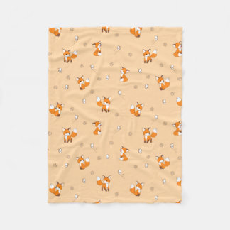 Cute Little Foxes on Cream Fleece Blanket
