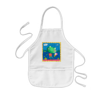 cute little frog with icecream kids apron