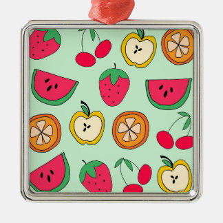 Cute Little Fruit Salad Silver-Colored Square Decoration