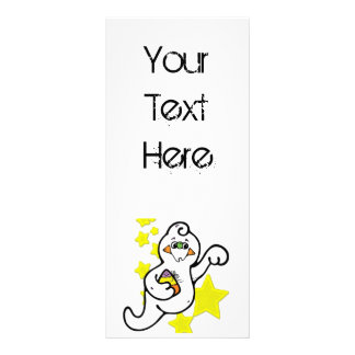 Cute Little Ghost and Yellow Stars Rack Card Design