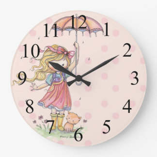 Cute Little Girl and Ktty Pink Polkadot Clock