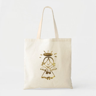 Cute Little Girl Baby Angel Halo Gold Look Tote Bag