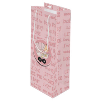 Cute Little Girl Baby In Buggy New Baby Wine Gift Bag