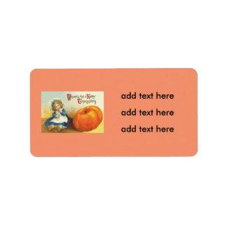 Cute Little Girl Field Pumpkin Address Label