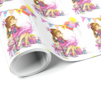 Cute Little Girl Gift Wrapping Paper