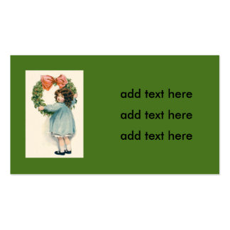 Cute Little Girl Holly Wreath Pink Bow Pack Of Standard Business Cards