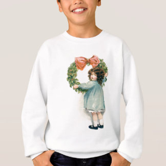 Cute Little Girl Holly Wreath Pink Bow T Shirts