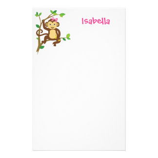 Cute Little Girl Monkey Stationery Paper