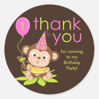 Cute Little Girl Monkey Thank You Sticker