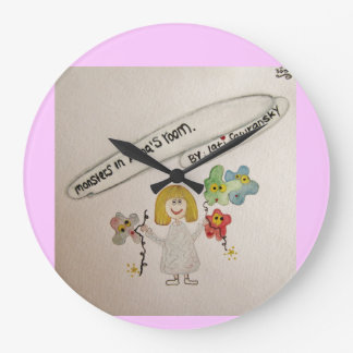 Cute Little girl name Anna, with monsters balloons Clock