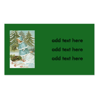 Cute Little Girl Picking Holly Snow Pack Of Standard Business Cards