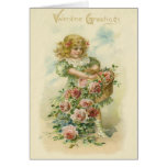 Cute Little Girl Pink Roses Greeting Card