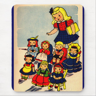 cute little girl playing school with her dolls mouse pad