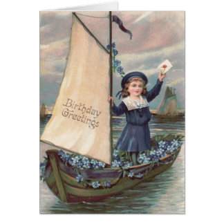 Cute Little Girl Sailboat Forget-Me-Not Greeting Card