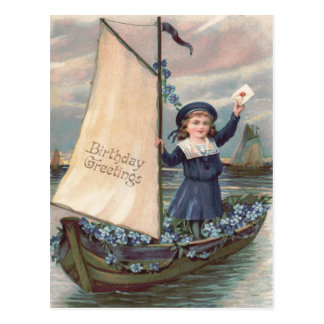 Cute Little Girl Sailboat Forget-Me-Not Postcard