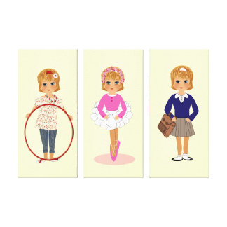 Cute little Girl Set of Canvas Picture Prints Canvas Print