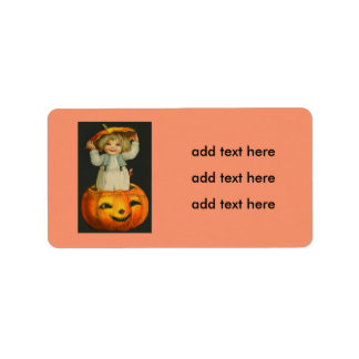 Cute Little Girl Smiling Jack O' Lantern Pumpkin Address Label