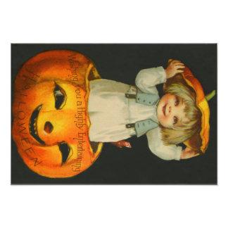 Cute Little Girl Smiling Jack O' Lantern Pumpkin Photo