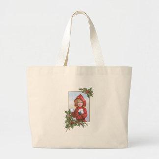 Cute Little Girl Snowballs Holly Jumbo Tote Bag