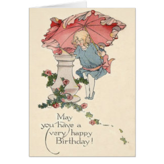 Cute Little Girl Sundial Roses Card