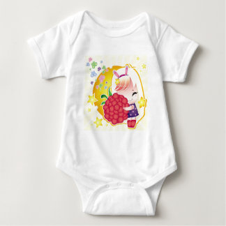 Cute little girl with a raspberry baby bodysuit