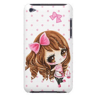 Cute little girl with big pink bow iPod touch covers