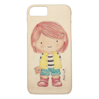 Cute Little Girl with Her Teddy iPhone 7 Case