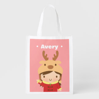 Cute Little Girl with Reindeer Hat Grocery Bag