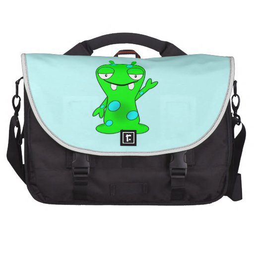 Cute Little Green Monster, Waving Bag For Laptop