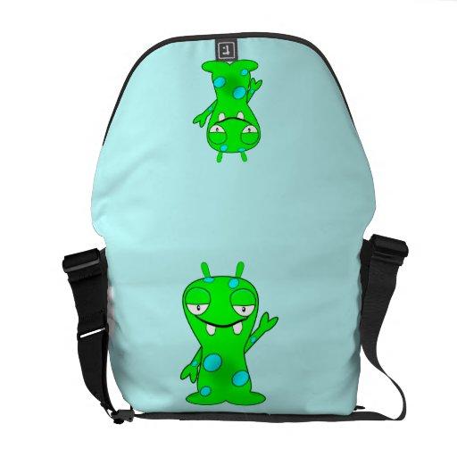 Cute Little Green Monster, Waving Courier Bags