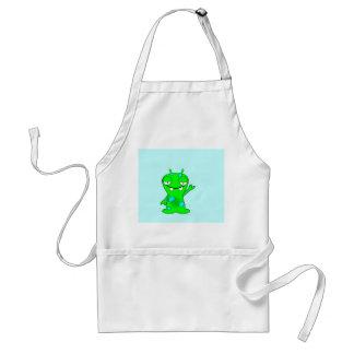 Cute Little Green Monster, Waving Standard Apron