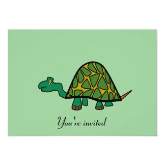 """Cute little green turtle invitation 5"""" x 7"""" invitation card"""