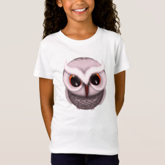 Cute Little Grumpy Owl in Light Pink T-Shirt