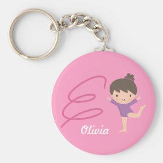 Cute Little Gymnast Girl and Ribbon Gymnastics Key Ring